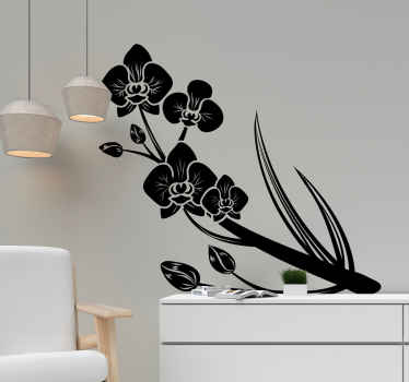 A simple and lovely orchid flower wall sticker decoration for your home . It is available in customisable colours and size options.