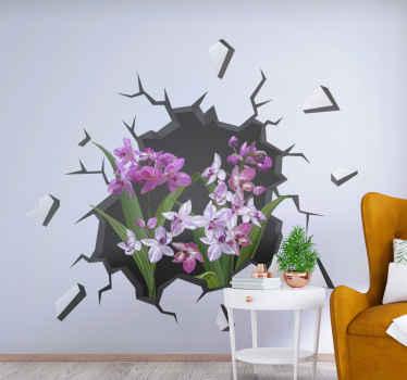 Vinilo 3D para pared de flores con ramo de orquídeas en un agujero. Elige el tamaño que desees. Alta calidad ¡Envío a domicilio!