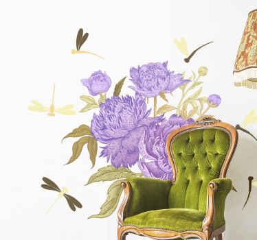 Un increíble vinilo de flores para dormitorios con libélulas y flores en lila. Está disponible en cualquier tamaño ¡Envío a domicilio!