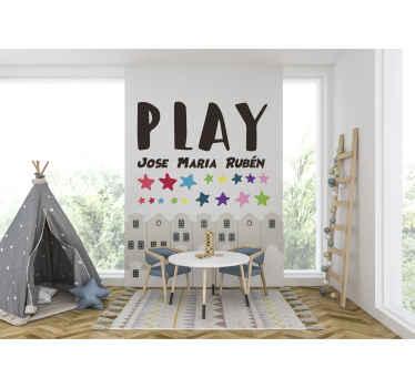 Versier de ruimte van je kind met onze originele speelruimte met naam muursticker op maat. Het is verkrijgbaar in verschillende maatopties.