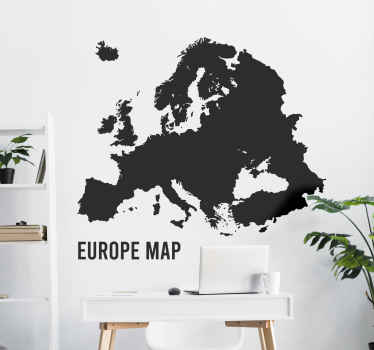 Political Europe map wall sticker to decorate a space to create a geographical touch on it. It is available in customisable colours and size options.