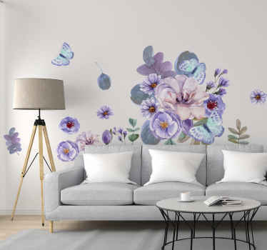 Preoblikujte svoj prostor z ljubkim pridihom naše cvetlične umetniške nalepke, oblikovane v akvarelu. Na voljo je v poljubni velikosti, ki jo potrebujete za svoj prostor.