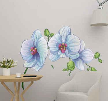 Blumen Wandaufkleber mit einem weißen Orchideen Design. Es kann auf jeder ebenen Fläche aufgetragen werden und ist in jeder Größe erhältlich.