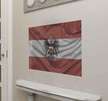 Österreich Adler Flagge Wandtattoo Dekoration für zu Hause und öffentliche Räume. Es ist in jeder gewünschten Größe erhältlich und die Anwendung ist einfach.