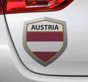 Dekorativer Österreich Emblem Aufkleber für alle ebenen Flächen. Das Produkt ist einfach aufzutragen und auf allen ebenen Flächen dekorativ.
