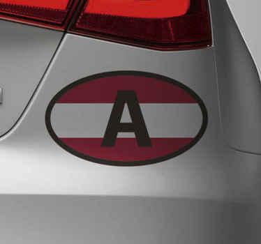 Ein Autoaufkleber mit Österreich Flagge, um ein Auto mit der symbolischen Darstellung von Österreich zu verzieren. Es lässt sich leicht auf jeder ebenen Fläche auftragen.