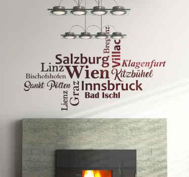 Dekorativer Stadt Wandaufkleber mit österreichischen Stadtnamen in stilistischer Art und Position. Es ist in jeder gewünschten Größe erhältlich.