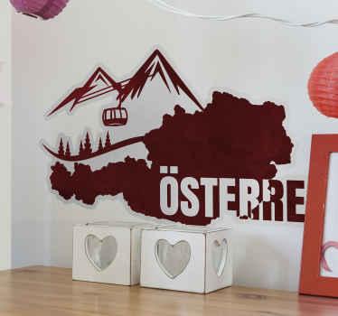 Österreich Land Wandtattoo Dekoration für Wohn- und Büroräume. Es ist einfach anzuwenden und in verschiedenen Größen erhältlich.