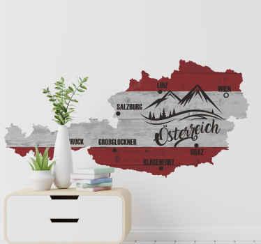 Dekoratives Österreich Karte Wandtattoo mit Merkmalen von Berg- und Ortsnamen. Es ist einfach anzuwenden und in jeder gewünschten Größe erhältlich.