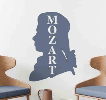 Klassische Musik Wandtattoo Design der Silhouette von Mozart. Dieses Design kann in jeder der Farben, die wir im Katalog haben, angepasst werden.