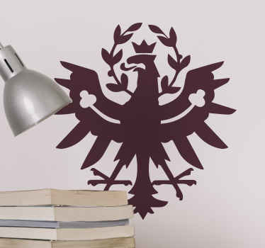 Ikonisches Schild Aufkleber Design vom Tirol Adler, um jede flache Oberfläche der Wahl zu dekorieren. Es ist in anpassbaren Farb- und Größenoptionen erhältlich.