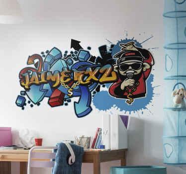 Vinilo graffiti nombre personalizado para pared de color azul para habitación infantil o juvenil. Fácil de colocar ¡Envío a domicilio!