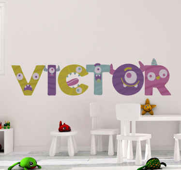 Decorative children wall art sticker design with personalisable name for kids and teens bedroom space. It comes in different sizes.