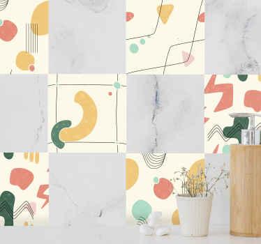 Verleihen Sie Ihrem Küchenbereich mit unserem hochwertigen dekorativen abstrakten Fliesen Aufkleber aus Vinyl einen originellen abstrakten Look. Es ist einfach anzuwenden.
