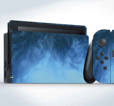 A Nintendo switch skin decal to cover the surface of your device, the product is made with the textural effect of a blue oil paint. Easy to apply.