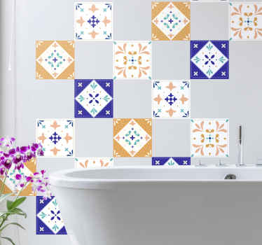 Classic palette tile sticker with different designs for a bathroom and kitchen space decoration. It is easy to install and available in any size.