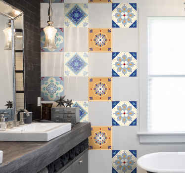 Pretty designs of colorful tile sticker to beautify a kitchen and bathroom space in the home. It is available in different sizes.