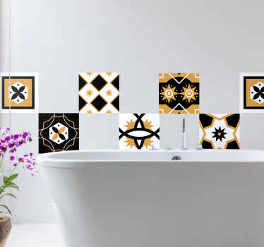 Decorative tile vinyl decal with different contrast designs for a bathroom and kitchen wall space. It is easy to apply and adhesive.