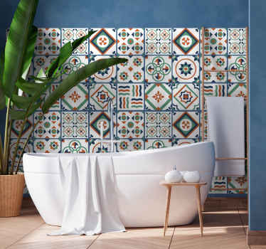 Looking for that fun vibes touch to decorate a bathroom space in a home? our multicolored geometric tile decal would serves the purpose.