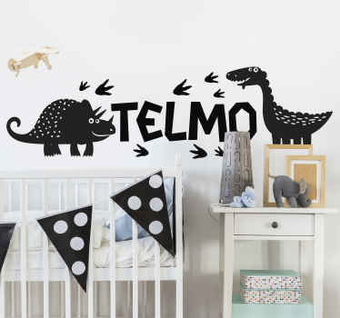 Decorate the bedroom space  of your child with the thrill of dinosaur spitting fire with customisable name. It is easy to apply.