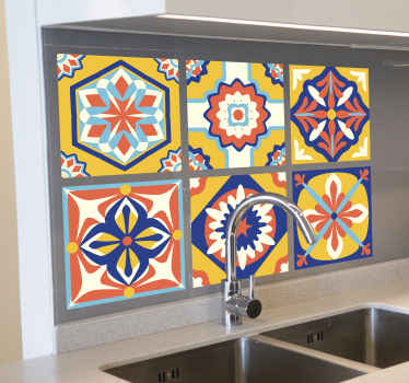 Waterproof tile decal for a kitchen space  with different floral pattern design in multi colour. It is available in any required size.