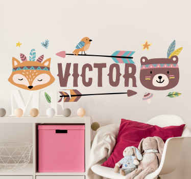 Make the bedroom space of your young one special with our colorful forest animals with customisable name. It is easy to apply.
