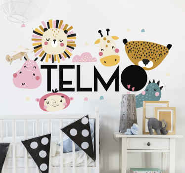 Children wall art decoration for bedroom space with different colorful jungle animals. It is easy to apply and available in different size options.