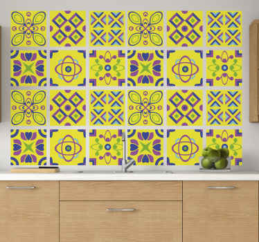 Psychedelic symmetries tile sticker for kitchen decoration. It is waterproof, easy to apply and made of high quality vinyl.