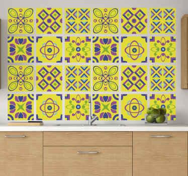 Azulejos vinílicos de simetrías psicodélicas para decoración de cocinas. Es impermeable, fácil de aplicar y de alta calidad ¡Envío a domicilio!