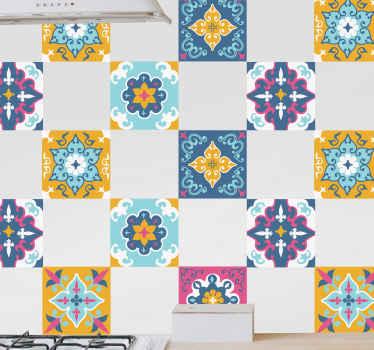 Pokrijte površino svojega kuhinjskega prostora s tem neverjetnim barvitim poletnim vzorcem nalepke za ploščice. Na voljo je v poljubni velikosti.