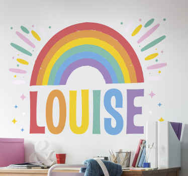 Personalise a name for your kid with our amazing rainbow illustrative wall sticker made from high quality vinyl. It is easy to apply.