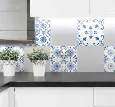 Buy our original vintage  blue floral patteren tile decal for your kitchen. It is waterproof and easy to apply. It comes in any size required.