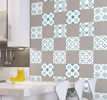고품질 비닐의 오리지널 수채화 패턴 타일 비닐 데칼로 주방 또는 식당 공간을 장식하십시오. 모든 크기로 제공됩니다.