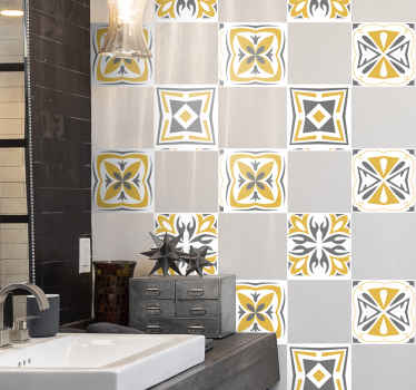 A decorative tile sticker designed with yellow and grey ornamental pattern. It is waterproof, durable and easy to apply on surface.