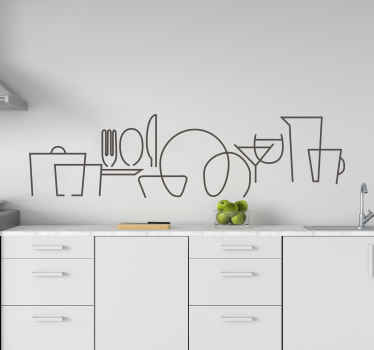 A simple decorative wall art decal design of cutlery set for a kitchen and dinning space. It is customisable in different colour options.