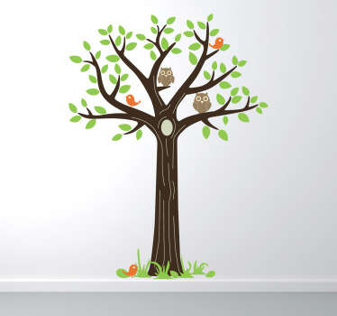 Vinilo decorativo árbol y búhos