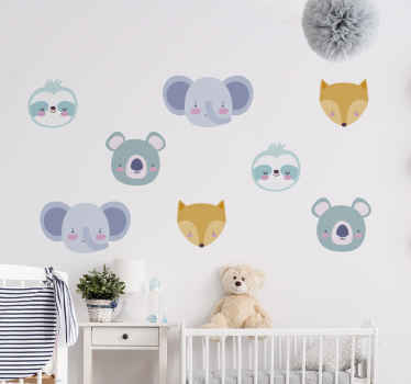 Decorative bedroom wall art decal for children with the design of happy and fun animal characters. The size is customisable to any requirement.