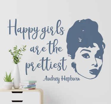 A fantastic motivational text quote wall sticker to decorate the home with inspired by by Audrey Hepburn. It is available in any size required.