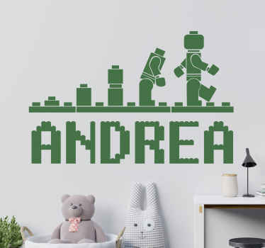 Personalized name wall sticker designed in Lego character style. The colour is customisable in different options and you can choose it in any size.