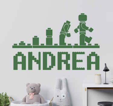 Spersonalizowana naklejka na ścianę zaprojektowana w stylu lego. Umieść na niej dowolne imię i stwórz niesamowite wnętrza w swoim domu!