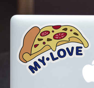 Buy our gastronomy theme laptop sticker with pizza design and text to decorate the surface of your laptop. You can  choose it in any size.