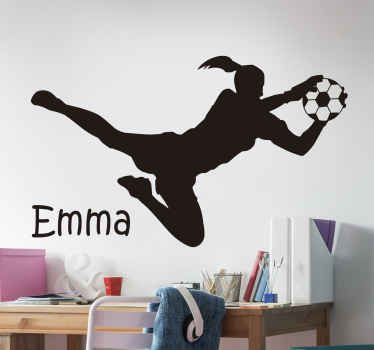 Sport wall sticker decoration of a female soccer player. It is personalisable with name and the colour is customisable in different options.