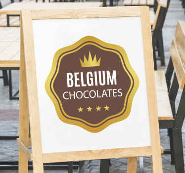Een Belgische chocolade tekst muursticker die gebruikt kan worden voor een chocolade- of coffeeshop. Het ontwerp is gemaakt op een ronde achtergrond met de tekst belgium chocolate ''.