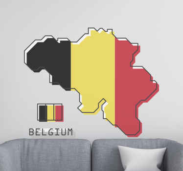 Un sticker mappemonde carte de la Belgique pour votre maison. Le produit est disponible en différentes tailles et son application est facile.