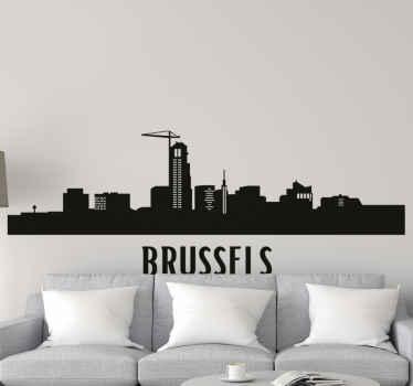 Sticker ville Bruxelles. Cette décoration murale est caractéristique des incroyables bâtiments et tours de Bruxelles. Il est disponible dans toutes les tailles requises.
