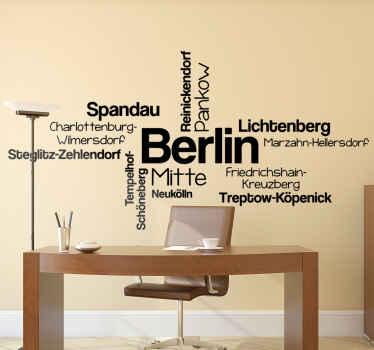 Ein Text Wandsticker für den Standort eines Landes und einer Stadt, um einen geografischen Standort in Ihrem Raum zu schaffen. Es ist in Farb- und Größenoptionen anpassbar.