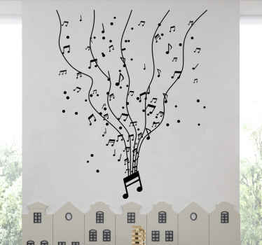 Musical wall sticker decoration for a space The design can be used in the living room, bedroom, and an office space. It is available in any size.
