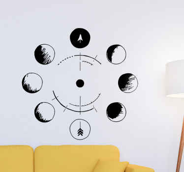 Moon Phases Drawing space wall sticker for any space of choice. It is self adhesive and very easy to apply. Available in any size required.