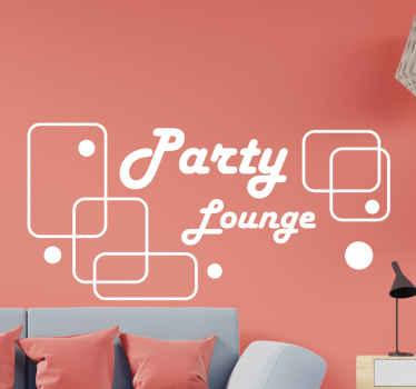 """El vinilo para salón de fiestas está hecho con un diseño de cuadrados elegantes y la frase """"party lounge"""". Alta calidad ¡Envío a domicilio!"""