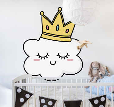 Hieno seinätarra koristelemaan lasten makuuhuonetta, jossa on pilvi kruunu päässä. Helppo levittää tasaiselle pinnalle.